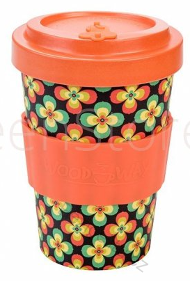 Woodway Kelímek na kávu z bambusu - Retro Flowers orange